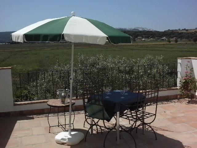 Ptoto of patio and table and view of vejer